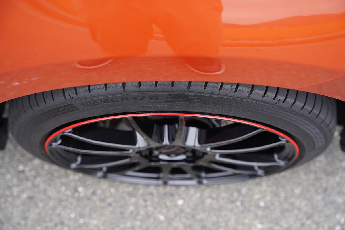 7.0Jホイールに6.5J幅のタイヤ